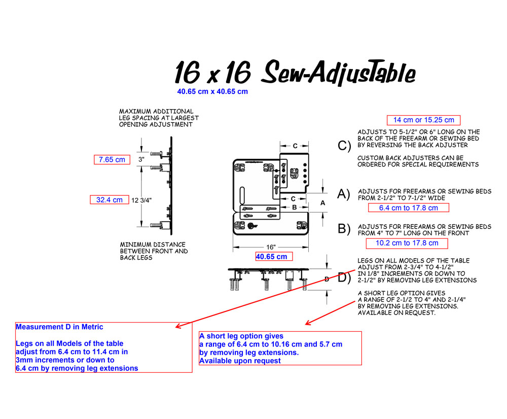 16 x 16 Sew AdjusTable ® Technical Measurements