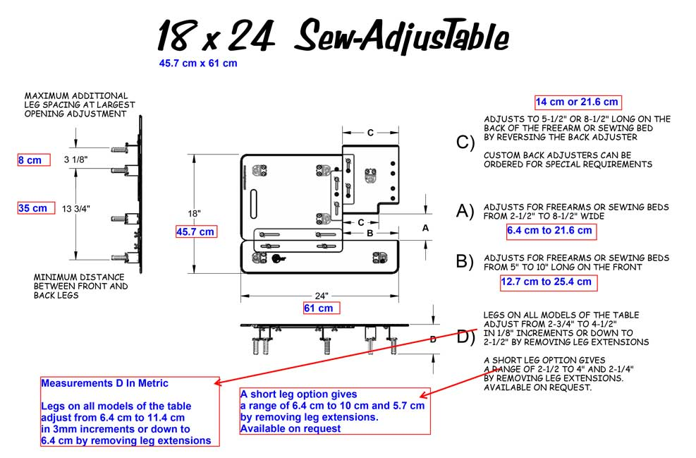 18 x 24 Sew AdjusTable ® Technical Measurements