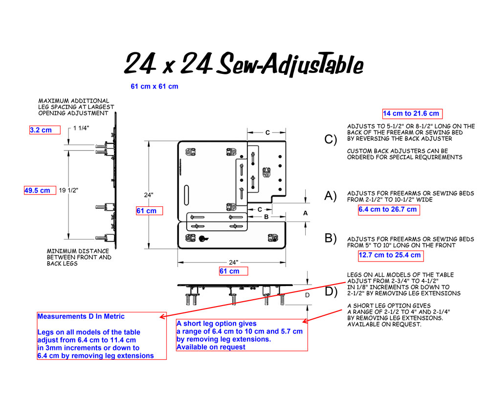 24 x 24 Sew AdjusTable Technical Measurements
