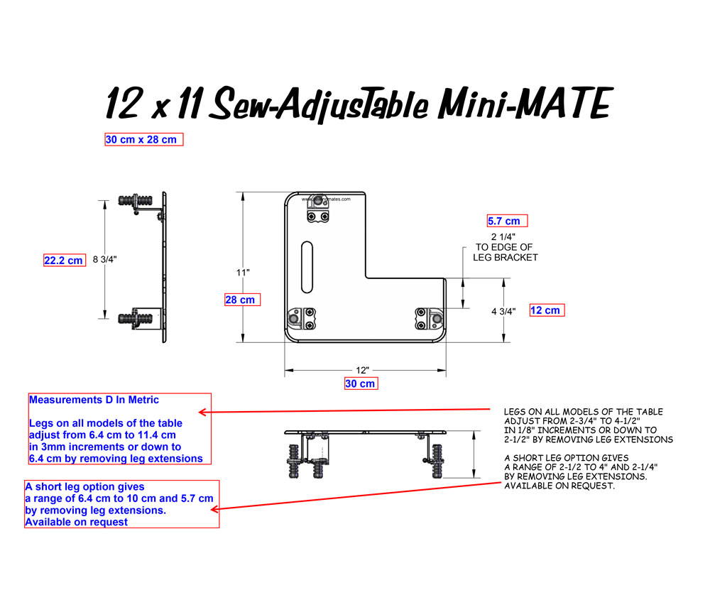 Mini Mate Sew AdjusTable ® Technical Measurements
