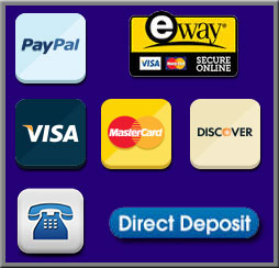 We Accept, PayPal, Eway, Visa, Mastercard, Discover, Phone Payments, Direct Deposit