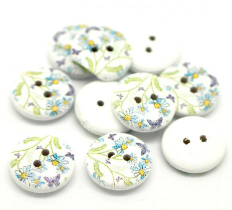 Blue Flowers with Purple Butterfly Button D08 15 mm