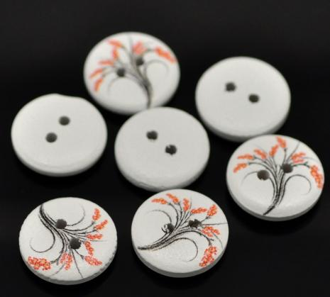 White with Orange Flowers Button D07 15mm
