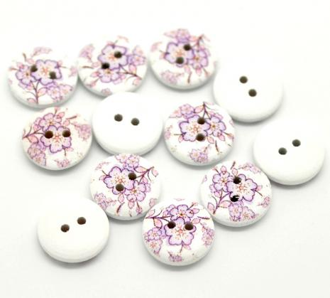 White with Lilac Flowers Button D06 15mm
