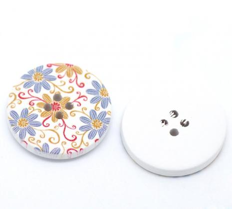 White with Blue and Tan Flowers Button 30 mm D18
