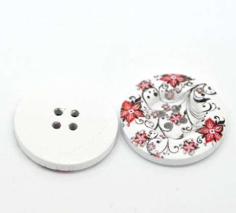 Red Flowers with Black Button 30 mm D19