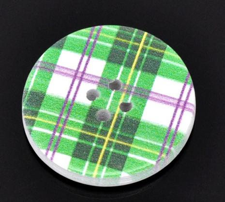 Green White and Purple Plaid Button 30 mm G03