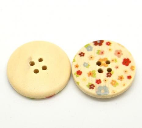 Natural Timber Tiny Flowers Button 30 mm NT11