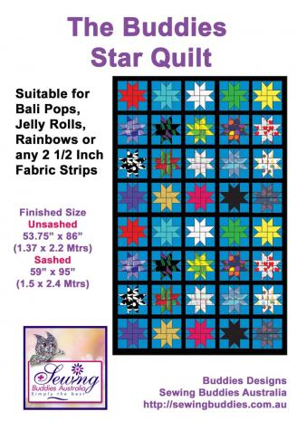 Buddies Star Quilt Pattern 2 1/2 Inch Strip Fabric Pattern a.k.a. Jelly Roll