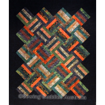 Buddies Strip Quilt Pattern using precut 2 1/2 Inch Strip Fabric a.k.a. Jelly Roll Set On-Point