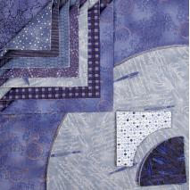 Drunkards Path Pre-Cut Kit - Blue Calligraphy Sewing Buddies Australia