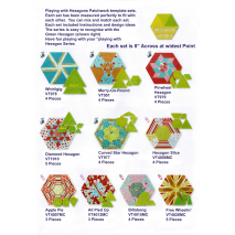 Playing with Hexagons Complete Set Patchwork Template Matilda's Own Sewing Buddies Australia