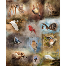 Fauna Nestled in Nature Hoffman Quilt Panel 43 x 27 Inches Digital Print Sewing Buddies Australia