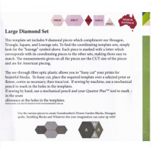 Diamond Set Large Patchwork Template Matilda's Own 3 Sewing Buddies Australia