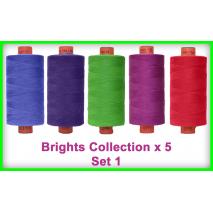 Brights x 5 Colour Set 1 Rasant Thread 1000M Sewing Buddies Australia
