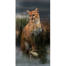 Pine Mountain Lion Call of the Wild Hoffman Quilt Panel 43 x 22 Inches Digital Print Sewing Buddies Australia