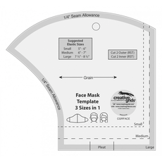 Creative Grids Facemask Template - See Video Sewing Buddies Australia