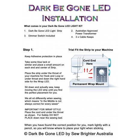 How to Install your Dark Be Gone LED Sewing Machine Light Page 1