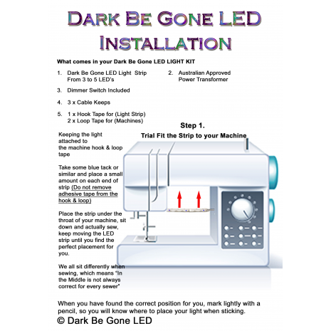 Dark Be Gone LED Under Throat Kit 4 Sewing Buddies Australia