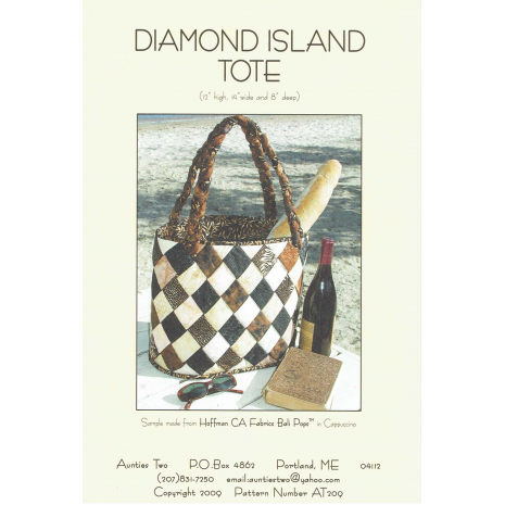 Diamond Island Tote Bag by Aunties Two Patterns ~ Jelly Roll Friendly