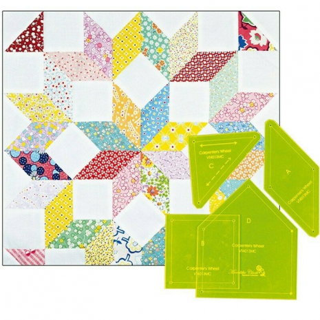 """Carpenters Wheel 18"""" Patchwork Template Meredithe Clark Signature Collection 2 Sewing Buddies Australia"""