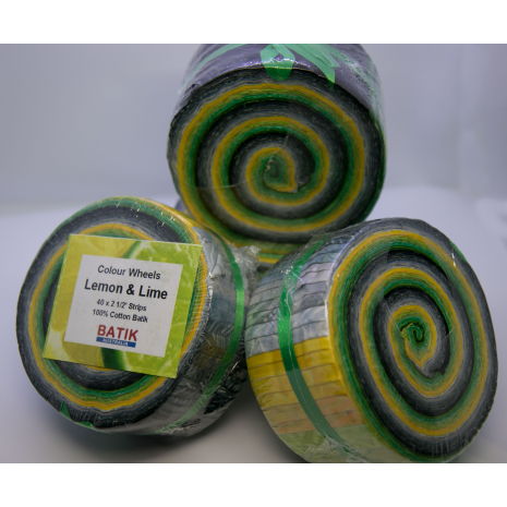 Lemon and Lime Colour Wheel aka Jelly Roll - Sewing Buddies Australia