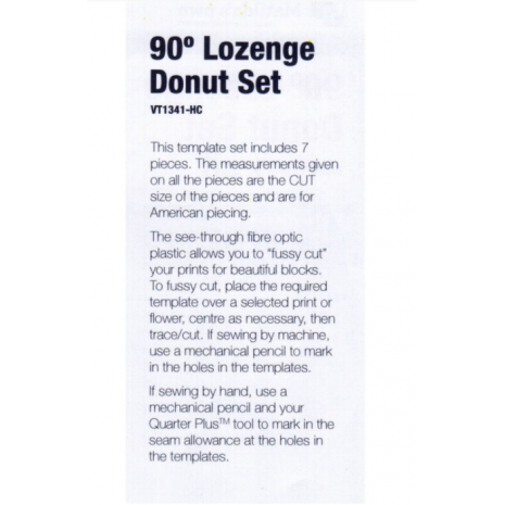 Lozenge (Elongated Hexagon) Donut Patchwork Template Set 4 Sewing Buddies Australia