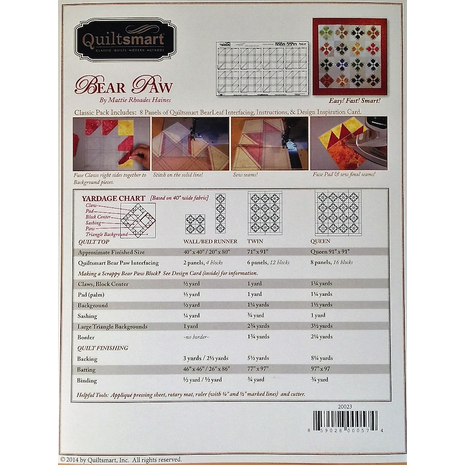 Bear Paw - Classic Pack by Quiltsmart - Printed Interfacing Pattern - SEE VIDEO 2 Sewing Buddies Australia