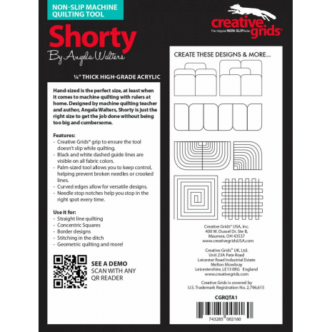Shorty Creative Grids Non-Slip Free Motion Quilting Tool / Ruler SEE VIDEO 3 Sewing Buddies Australia