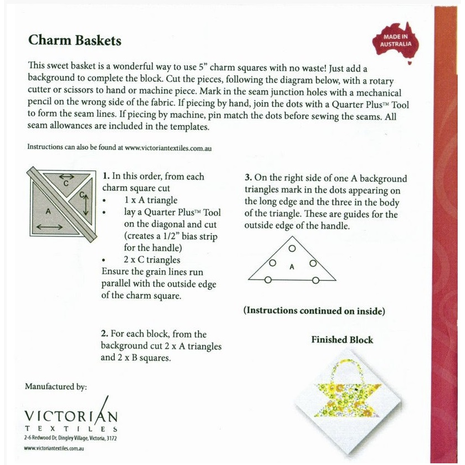 Charm Basket Patchwork Template - Meredithe Clark Signature Collection 2 Sewing Buddies Australia