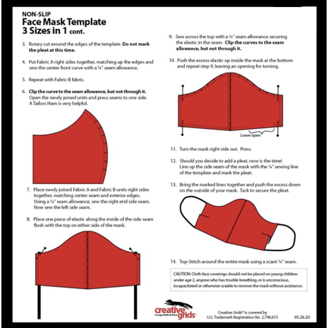 Creative Grids Facemask Template - See Video 7 Sewing Buddies Australia
