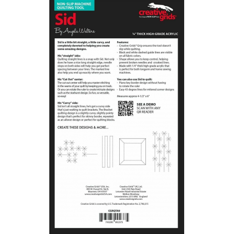 Sid Creative Grids Non-Slip Free Motion Quilting Tool / Ruler SEE VIDEO 4 Sewing Buddies Australia