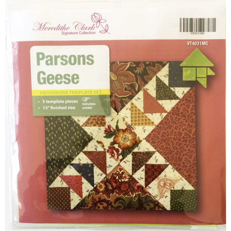 Parsons Geese Patchwork Template Meredithe Clark Signature Collection 3 Sewing Buddies Australia