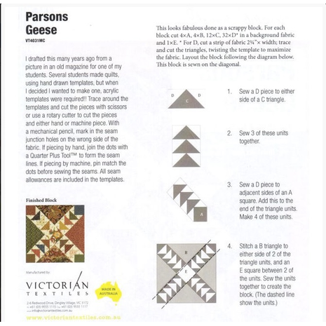 Parsons Geese Patchwork Template Meredithe Clark Signature Collection 4 Sewing Buddies Australia